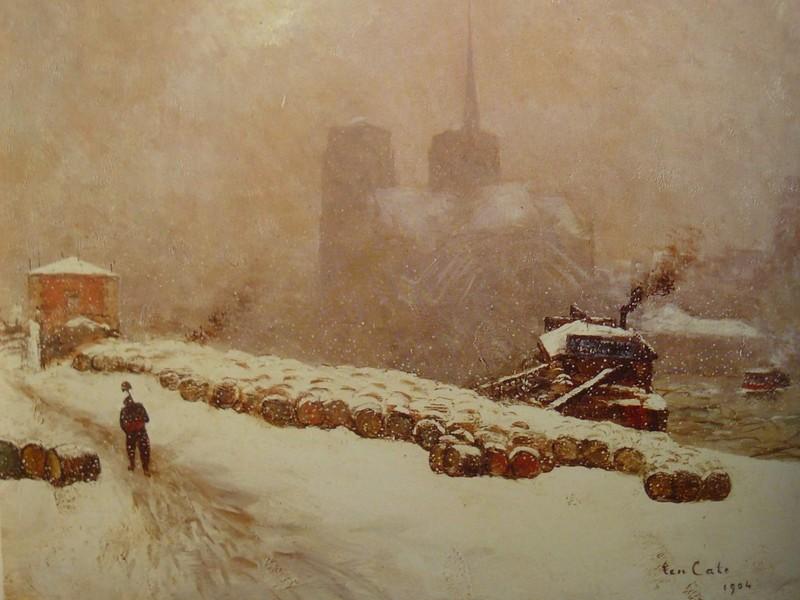 Siebe-Johannes Ten-Cate / Notre-Dame-de-Paris sous la neige / huile 60 x 73 cm