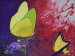 Papillon en sabot de Vénus / acrylique