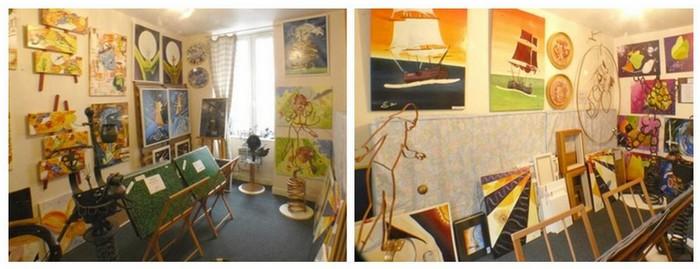 Vues partielles de l'atelier galerie (salle 1/3) – 6 fenêtres et 16 éclairages dédiés.