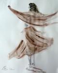 Danseuse papillon / encre de Chine couleurs