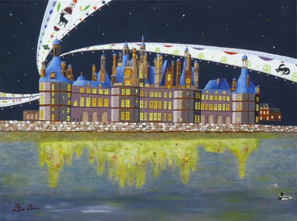Peinture toile : château de Chambord  (huile et acrylique)