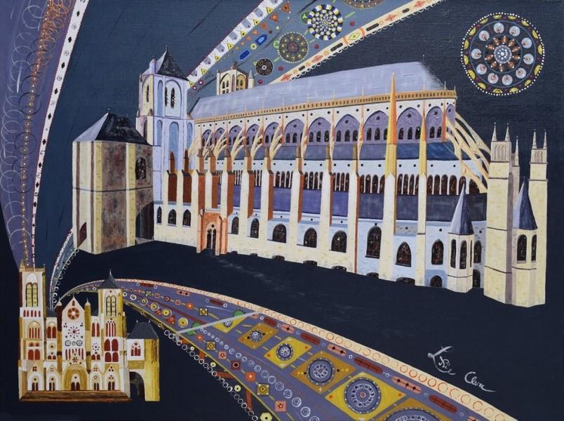 Une autre cathédrale : Bourges. Acrylique 60 x 80 cm N.L.