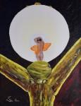 Peinture : Ampoule électrique et boule de gui 2 / acrylique