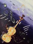 chat et musique, peinture