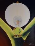 Peinture : Ampoule électrique et boule de gui